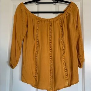 Mustard off the shoulders blouse